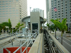 Bayfront Park station - View from Downtown Loop car approaching the station