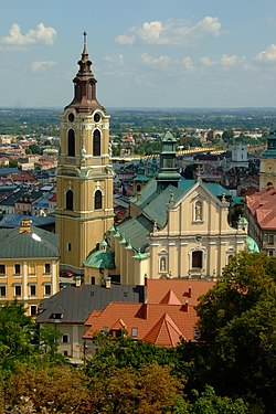 Przemyśl Cathedral with the city in the background