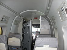 facing forward in the passenger cabin of a commutair airlines beechcraft 1900d