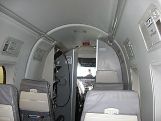CommutAir - Facing forward in the passenger cabin of a CommutAir Airlines Beechcraft 1900D