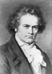 Black-and-white portrait of Ludwig van Beethoven, looking to the viewer's right.