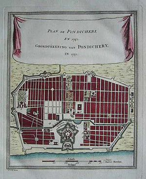 History of Puducherry - Bellin's plan of Pondicherry, a copperplate engraving