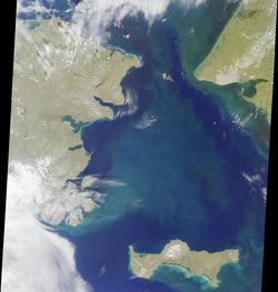 Image satellite du détroit de Béring.