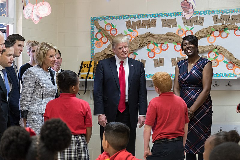 Betsy DeVos and Donald Trump visit Saint Andrew%27s Catholic School, March 2017.jpg