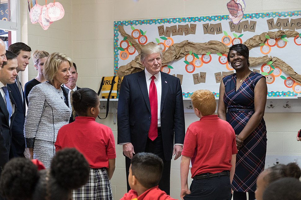 Betsy DeVos and Donald Trump visit Saint Andrew%27s Catholic School, March 2017