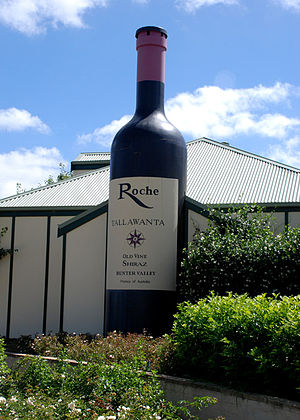 New South Wales wine - Tourism is important to the Hunter Valley wine industry. Here a winery in Pokolbin has created a massive wine bottle replica outside of its winery.