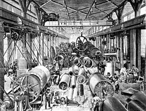 Machine industry - Machine shop  of Swiss machine factory Escher Wyss, 1875