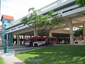 Bishan Bus Interchange, the upper floors are home to a hawker centre and a multi-storey car park.