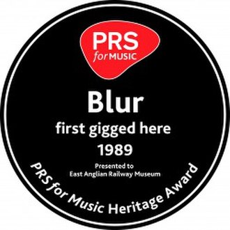 Heritage Award - A PRS for Music Heritage Award celebrating Blur's first gig in 1989 at the East Anglian Railway Museum near Colchester