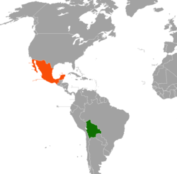 Map indicating locations of Bolivia and Mexico