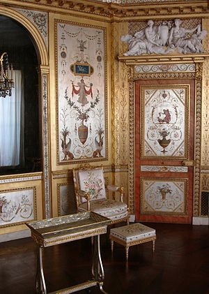 Louis XVI style -  The Queen's boudoir, 1786, Fontainebleau, France; note the griffins and sphinxes as well as the emphatic use of symmetry and the inclusion of garden and plant themes; also, gilded surfaces predominate