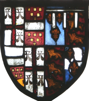 William Bourchier, 1st Count of Eu - Arms of William Bourchier, 1st Count of Eu (1374-1420) (Quarterly Bourchier and Lovain, feudal barons of Little Easton, Essex) impaling arms of his father-in-law Thomas of Woodstock, 1st Duke of Gloucester (1355-1397), youngest son of King Edward III (Royal Arms of England, a label of three points argent for difference). Stained glass, west window, Tawstock Church, Devon. The Count's son William Bourchier, 9th Baron FitzWarin (1407-1470) was the first to be connected with the manor of Tawstock, having married the heiress of that manor