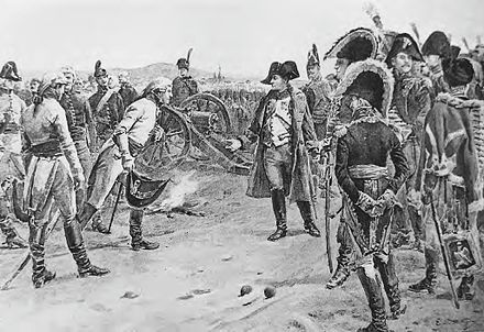 General Mack surrenders his army at Ulm. Napoleon's strategic encirclement of the Austrians, in conjunction with the Battle of Austerlitz six weeks later, sealed the fate of the Third Coalition. Boutigny-Surrender at Ulm.jpg