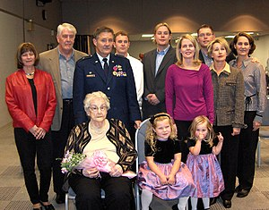 Hugh T. Broomall - Broomall's family, wife Christy, mother, two granddaughters, daughter, sister-in-law, brother, nephew, two sons and daughter-in-law taken during his promotion to Brigadier General on 7 Nov. 2004