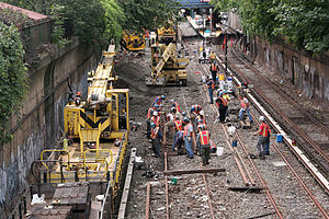 BMT Brighton Line - Track work at Newkirk Plaza in September 2011 marking the end of the station reconstruction project.