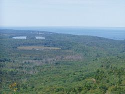 From the top of Brockway Mountain, Lake Superior and Eagle Harbor