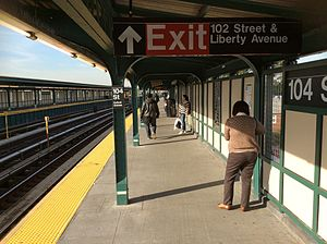 Brooklyn bound platform at 104 St on the Fulton St Line.jpg