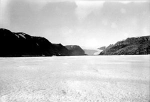 Brother John's Glacier as seen from Foulke Fjord near Etah in Spring, 1938