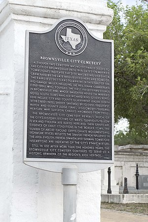 National Register of Historic Places listings in Cameron County, Texas - Image: Brownsville City Cemetery sign
