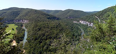 The Ozarks: bend in the Buffalo River from an overlook on the Buffalo River Trail near Steel Creek Buffalo national river steel creek overlook.jpg