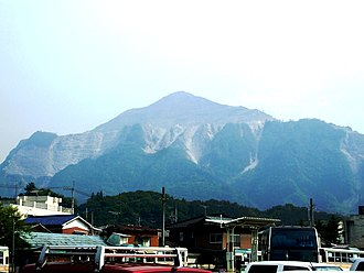 Mount Bukō - Mount Bukō, with terracing from limestone mining clearly visible