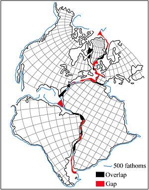 Boris Choubert - Reconstruction by Bullard et al. of the America-Greenland-Europe-Africa supercontinent (1965).