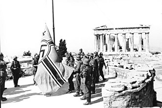 Olivia Manning - German soldiers raising a Third Reich battle flag on the Acropolis, Athens, 1941