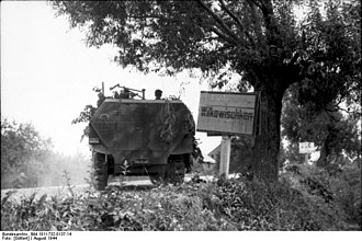 Kaunas Offensive - Wehrmacht armored personnel carrier in Vilkaviškis during the Kaunas Offensive