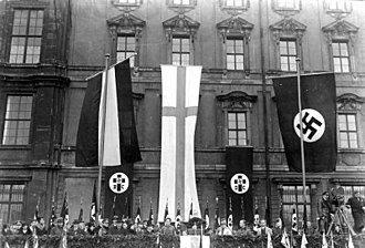 Religion in Nazi Germany - 19. November 1933: Luthertag (Luther Day) celebrations of the German Evangelical Church in front of the Berlin Palace. Joachim Hossenfelder is speaking.