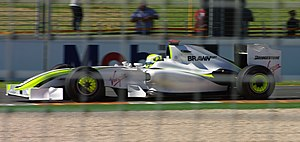 2009 Australian Grand Prix - Jenson Button's Brawn BGP 001, after a sponsorship deal was completed between the Brawn team and the Virgin Group founder Richard Branson