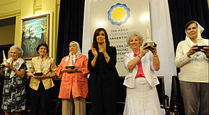 Hebe de Bonafini - Hebe de Bonafini (third from left) and other laureates of the May Revolution Human Rights Extraordinary Prize, with President Cristina Fernández de Kirchner.