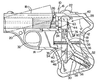 COP .357 Derringer - Drawing from US patent 4,407,085, covering the COP Derringer operating mechanism