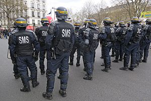 Compagnies Républicaines de Sécurité - CRS officers during a demonstration in 2016