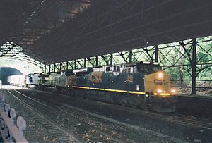 Mount Royal Station - A CSX Transportation train under the trainshed in 2009