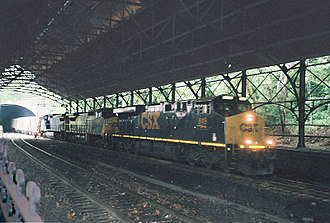 Baltimore Belt Line - CSX freight train emerging from the north end of the Howard St. tunnel