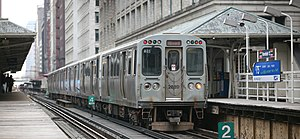 Passenger rail terminology - A 2600 series car brings up the rear of a Red Line train (temporarily rerouted through the elevated tracks of the Chicago Loop) at Randolph/Wabash.