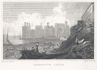 Caernarvon Castle.(Two prints on one sheet, see Notes)