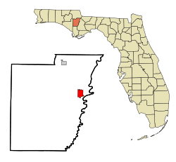 Calhoun County Florida Incorporated and Unincorporated areas Blountstown Highlighted.svg