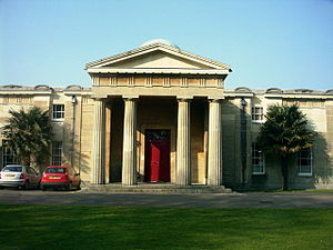 Cambridge Observatory - This doric portico is the main entrance to the Cambridge Observatory building