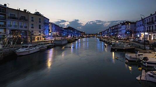 The Canal of Sète at dusk. Hérault, France.