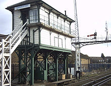 Old-fashioned signal box at Canterbury East.