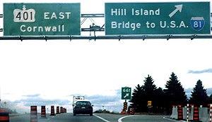 Ontario Highway 137 - Highway 401 eastbound at Highway 137 in 2004