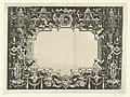 Cartouche met in beide bovenhoeken een rond tempeltje Cartouches in een omlijsting van rol- en beslagwerk met grotesken, guirlandes en mascarons (serietitel), RP-P-1905-2760.jpg