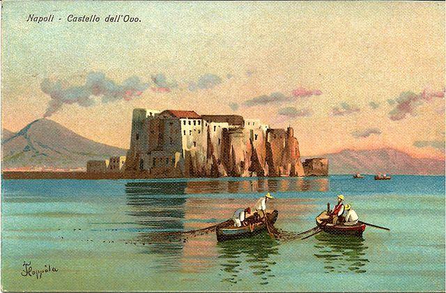 Des pêcheurs, le Castel dell'Ovo et le Vésuve d'après Francesco Coppola Castaldo.