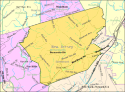 Census Bureau map of Bernardsville, New Jersey.