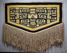 Ceremonial cape, Tlingit people, Chilkat clan, northwest coast of North America, 1850-1900 AD, cedar bark, mountain goat hair, sheep's wool, view 1 - Textile Museum, George Washington University - DSC09926