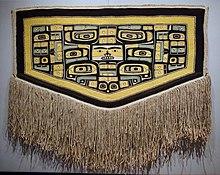 Ceremonial cape, Tlingit people, Chilkat clan, northwest coast of North America, 1850-1900 AD, cedar bark, mountain goat hair, sheep's wool, view 1 - Textile Museum, George Washington University - DSC09926