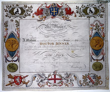 Certificate of the Freedom of the City of London awarded to Jenner, 1803 Certificate of the Freedom of the City, Jenner. Wellcome M0011023.jpg