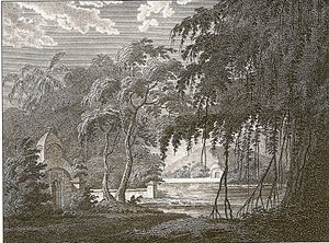 Sacred grove - The Sacred Hindoo Grove near Chandod on the Banks of the Nerbudda by James Forbes, 1782