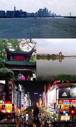 Clockwise from top: Skyline of Changsha, Yuehu Park, Huangxing South Pedestrian Street, Aiwan Pavillion